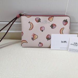 "COACH Corner Zip Wristlet Case Pink Peony 6x4"""
